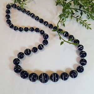 Navy/White Beaded Necklace